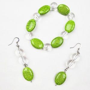 Earring & Bracelet Set | Green Clear Silver Beads